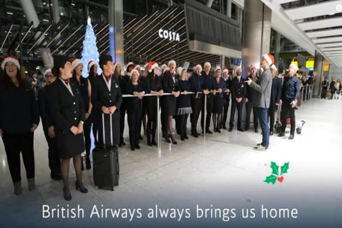 british airways surprised customers arriving home for Christmas